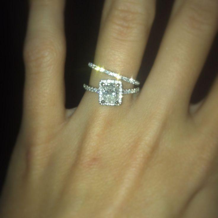 Cushion Cut Diamond Engagement Ring With Halo Matching Band