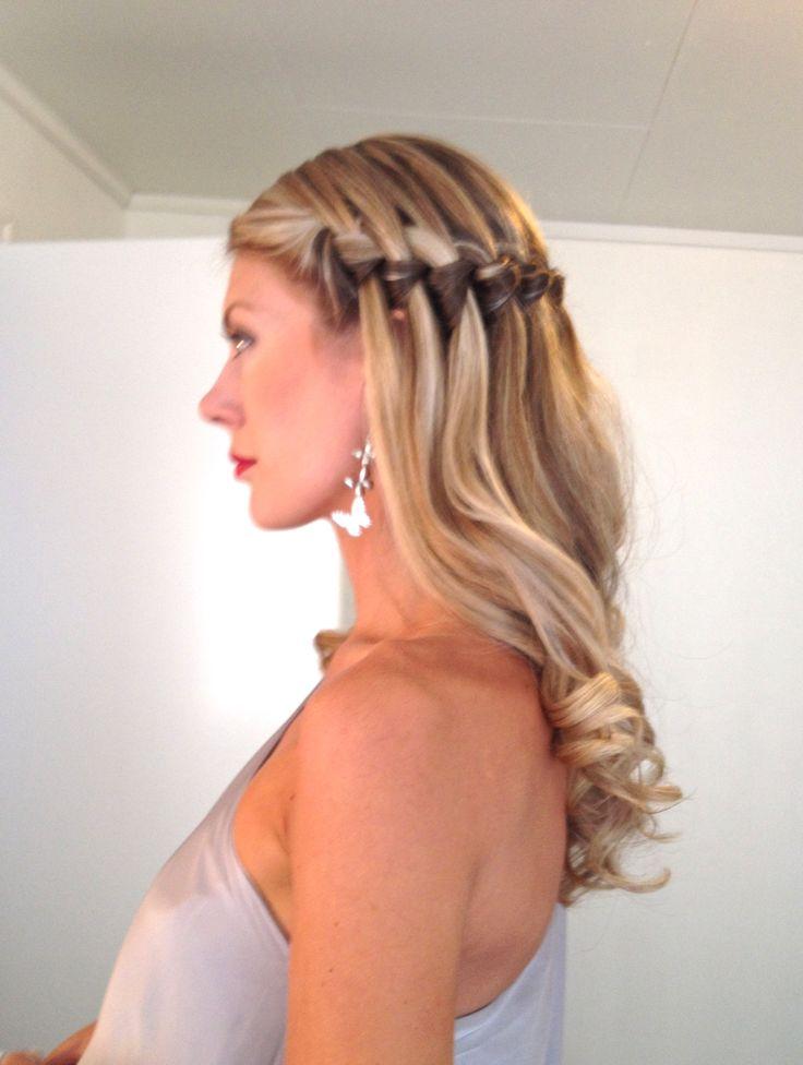 Wedding party hairstyle waterfallbraid highlights curls