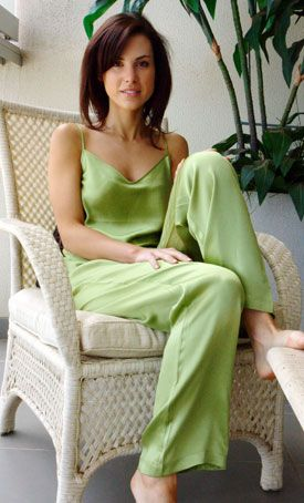 Silk v-neck camisole, chartreuse green. Can easily be worn as either underwear or outer wear. $49