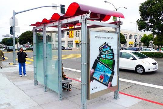 green bus stop, recycled green bottles, Japanese fruit-shaped bus stop, solar powered bus stop, green roofed bus stop, Lundberg Design, Aaron Scales, Dutch WVTTK Architects