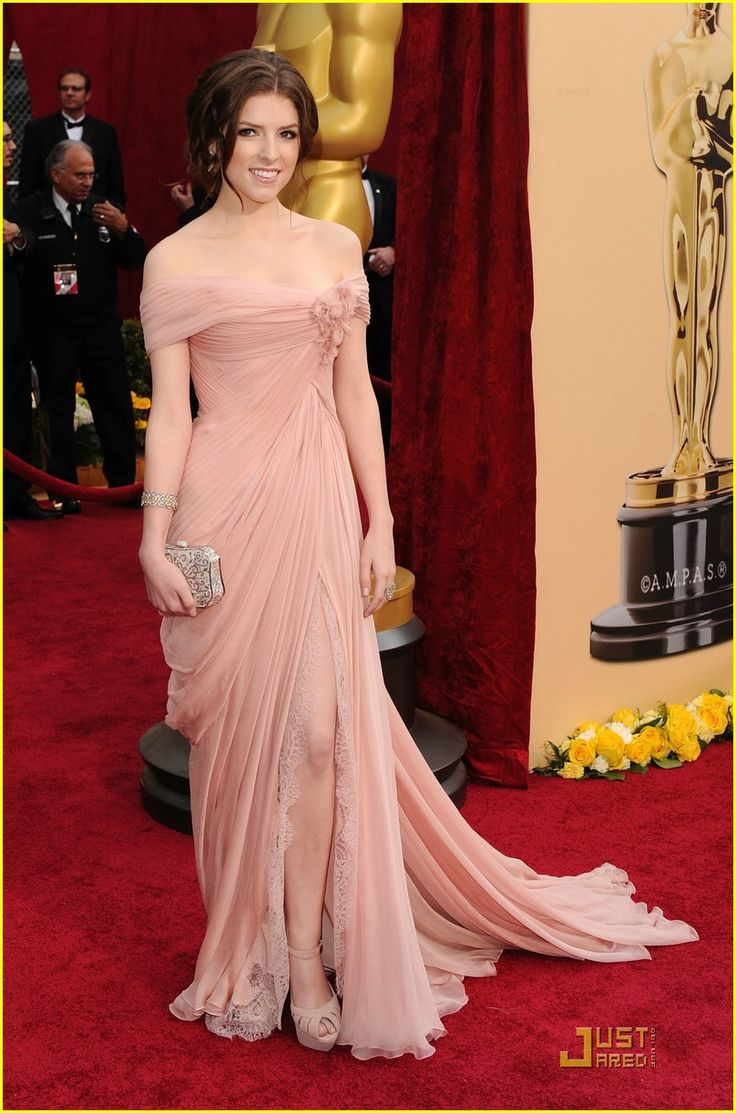 Anna Kendrick -- Oscars 2010 Red Carpet. I love this look, but think I would want a satiny cream color instead. I don't know if an alternate fabric would ruin the look. The sleeves would also have to be more triangular and on top of the shoulder to support the dress, since I have a large chest.