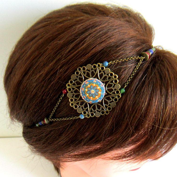 Headband bohème gypsy bronze, bleu, rouge et vert, bijou de tête, mariage, cabochon mandala tissu : Accessoires coiffure par color-life-bijoux