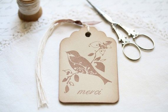 Bird Gift Tags Vintage Style Merci French Bird Gift Tags. $5.25, via Etsy.