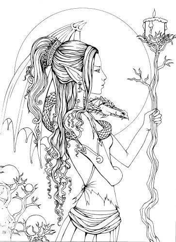 mystical a fantasy coloring book - Fantasy Coloring Pages Adults