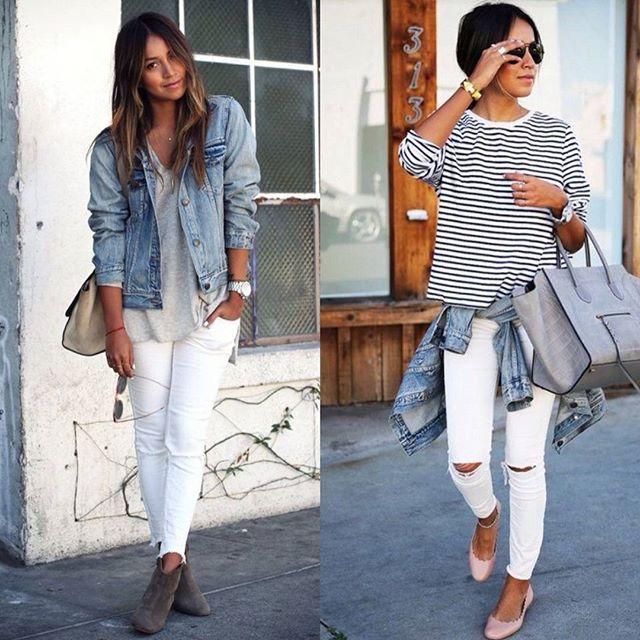 A calça branca e a jaqueta jeans são a combinação perfeita para looks casuais com ares de fashion girl. Melhor ainda se você compor com a nossa estampa favorita ever, as listras!!! #chiquedebonito #looks #dicadelook #instafashion