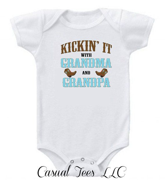 Kickin' It With Grandma and Grandpa Baby Onesie by CasualTeeCo, $14.00