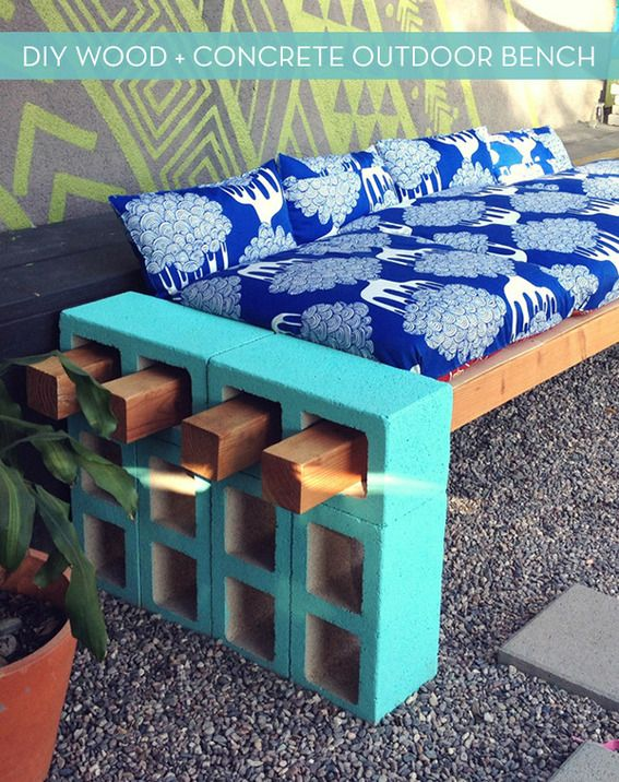 How To: Make a Stylish Outdoor Bench from Cinder Block! » Curbly