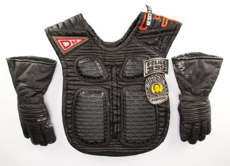 Police flack vest and leather gauntlet gloves from Blade Runner.