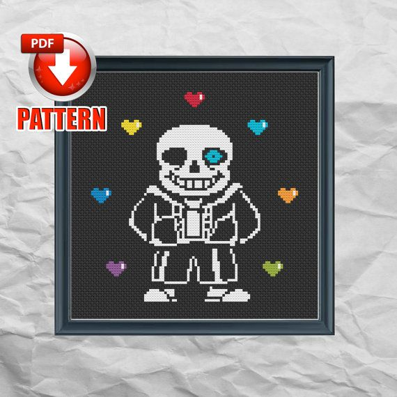 Undertale - Sans - Steam Video Game - rpg - Geeky Cross Stitch Pattern PDF - INSTANT DOWNLOAD  by DysfunctionalThreads