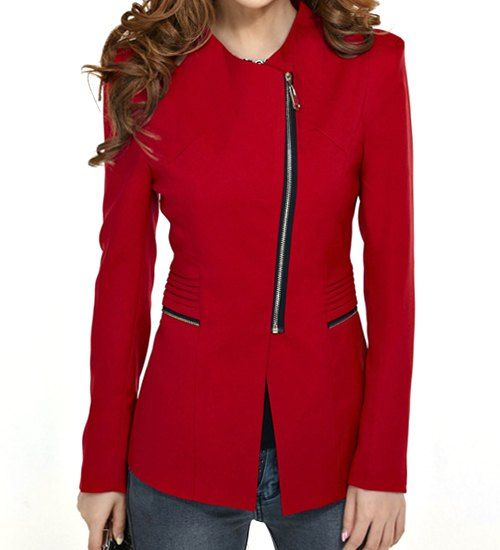 Fashionable Style Turn-Down Collar Solid Color Zipper Embellished Slimming Blazer For Women