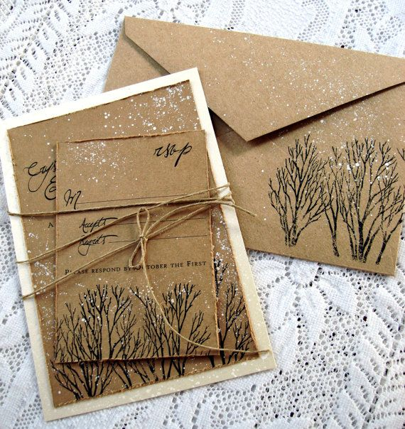 Winter Wedding Invitation tree hand stamped and by everafterpapery                                                                                                                                                                                 More