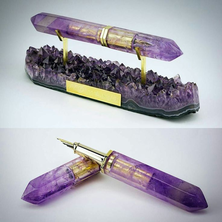 Fountain pen made from amethyst