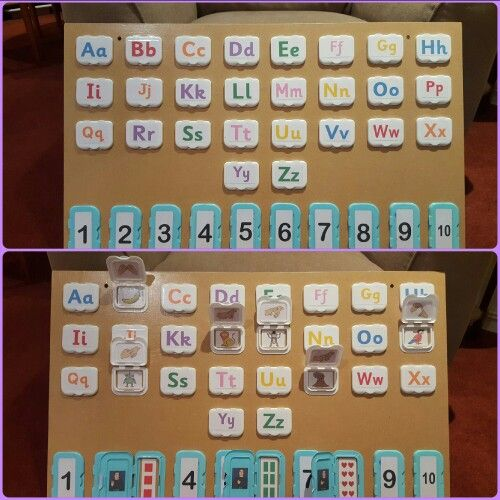 Recycled baby wipe lids. Alphabet, numbers and sign language.