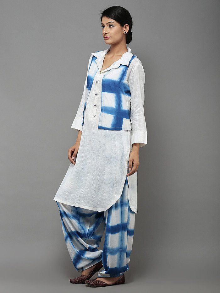 White Blue Tie and Dye Cotton Silk Pathani Set - Set of 3