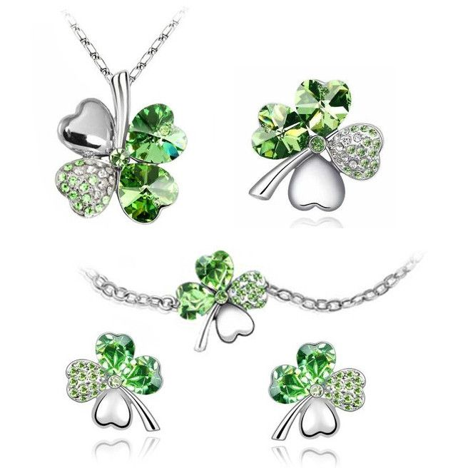 BodyJ4You® Fashion Jewelry Set Four Leaf Clovers 5 Piece Set: Green Crystal Necklace Earrings Bracelet and Pin