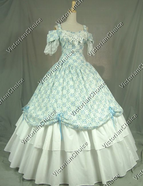 Victorian Civil War Southern Belle Dress Ball Gown Reenactment Costume