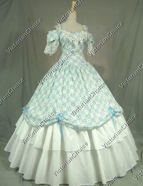 Victorian Civil War Southern Belle Dress Ball Gown Reenactment Costume