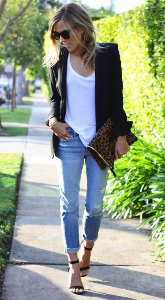 Blazer, white shirt, distressed jeans and heels