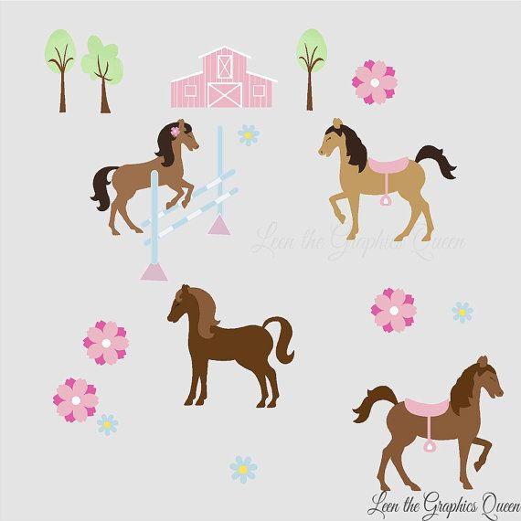 Pretty Horses - Reusable Wall Decals for Girl Horse Room Nursery - Fabric Wall Stickers Brown Grey Gray Pink Purple Accents with Barn Farm on Etsy, $35.00