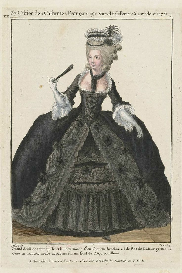 Grand Court Mourning, full pleureuse and cravat, wool stockings, épée and black buckles, crêpe on the Hat and the épée. (1781). A Most Beguiling Accomplishment: Galerie des Modes