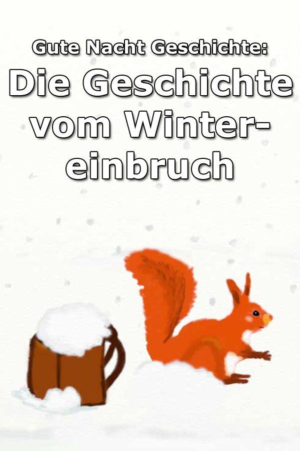 Gute Nacht Geschichte über den Wintereinbruch im Wald und die Futtersuche der Tiere
