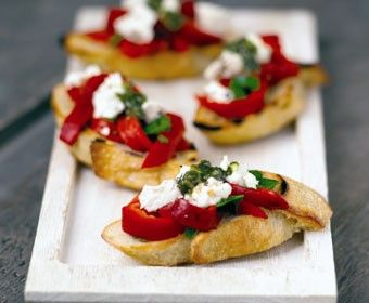 Sourdough Crostini with Roasted Red Pepper