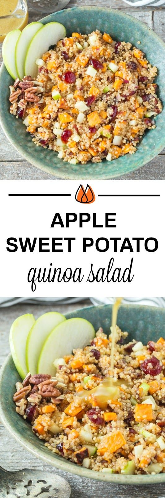 Your taste buds will love this tasty Apple Sweet Potato Quinoa Salad that is full of flavor and makes the perfect vegetarian side dish for dinner or holidays!