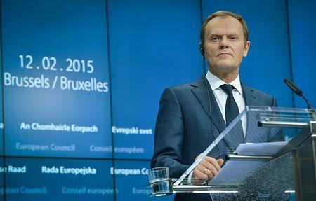 12日、ブリュッセルで記者会見する欧州連合(EU)のトゥスク大統領(EPA=時事) ▼13Feb2015時事通信|合意ほごなら必要な措置=ロシアに履行迫る-EU首脳会議 http://www.jiji.com/jc/zc?k=201502/2015021300135