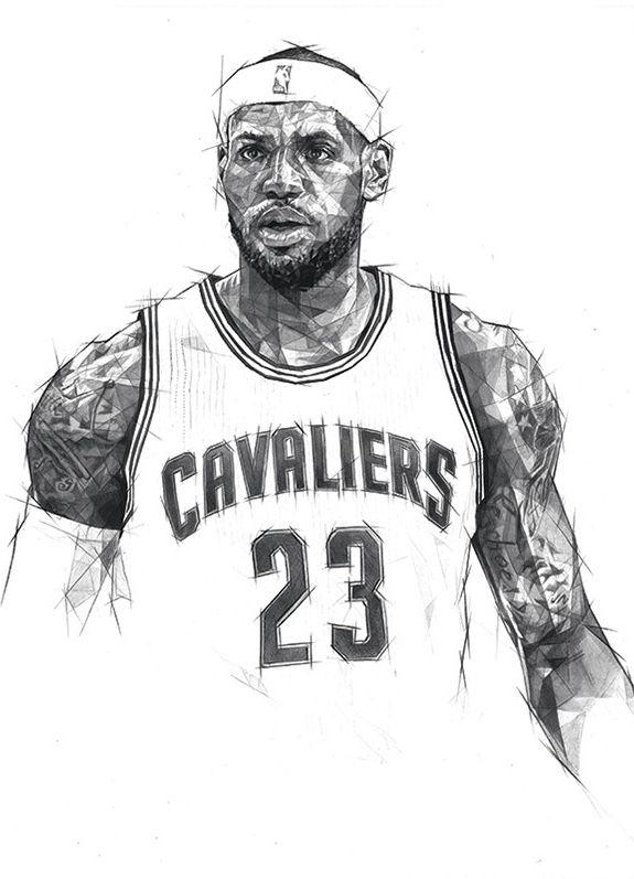Cleveland Cavaliers 'Big Three' Geometric Sketch - Hooped Up