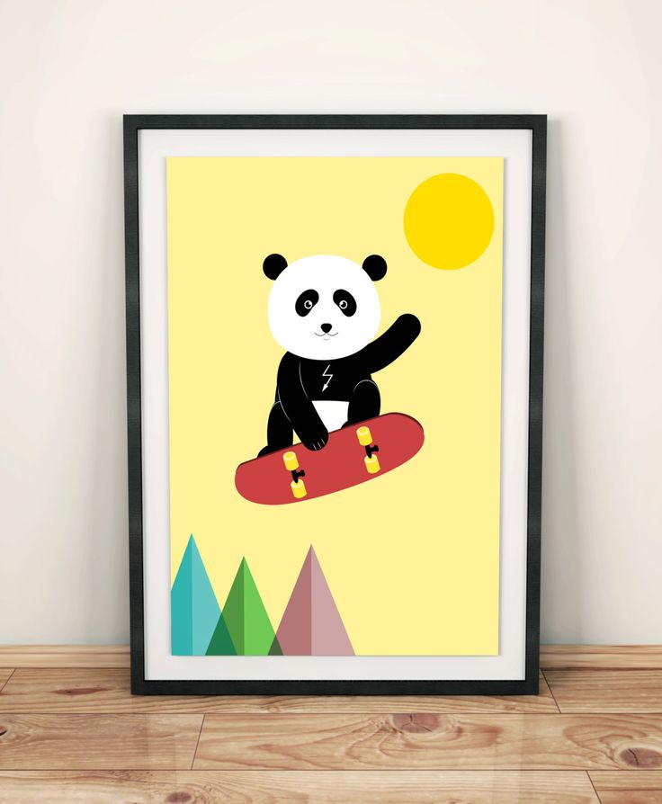 Poster for kids, nursery dekor, nursery wall art, nursery poster, kids poster, kids room, panda, skateboard, bear by GrafPoster on Etsy