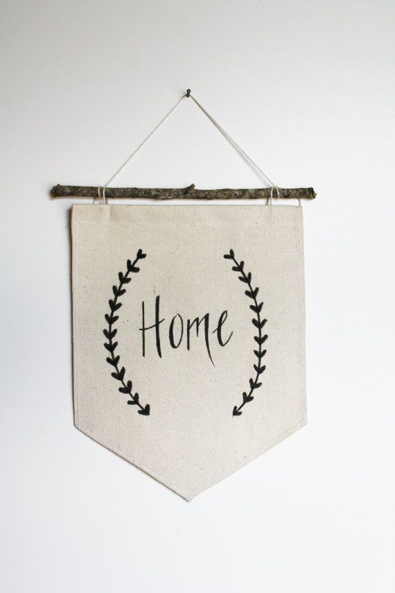 Banner With Branch Rod - Home - Canvas Banner - Fabric Wall Hanging - Wall Banner