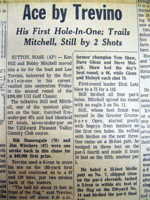 1973 newspaper LEE TREVINO scores the first HOLE IN ONE of his PGA GOLF career