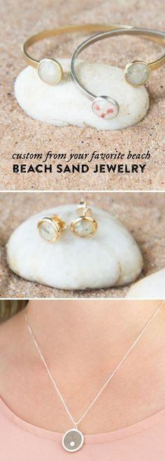 Capture and carry your favorite beach with these custom sand earrings. Grains are hand-sanded and trimmed with silver for a modern matte finish. Send them a capsule of your own sand or choose from their collection of over 1,500 beaches worldwide.