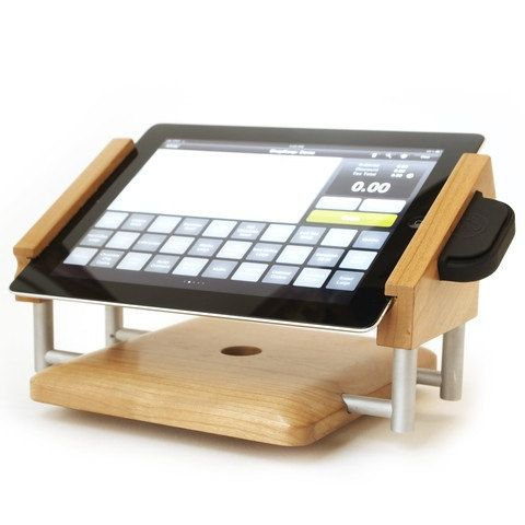 intra-stand landscape iPad stand for use with ShopKeep and iDynamo Card Swiper in Cherry Hardwood and Machined Solid Aluminum. $229.00, via Etsy.