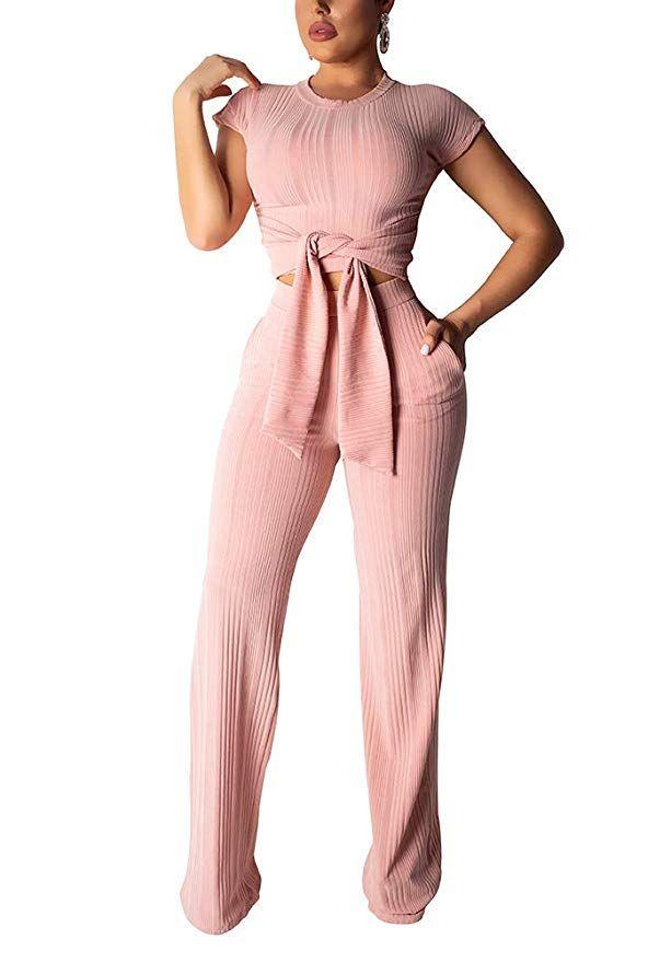 16c75303c97 Women 2 Piece Outfit Crew Neck Ribbed Crop Top Wide Leg Long Pants ...