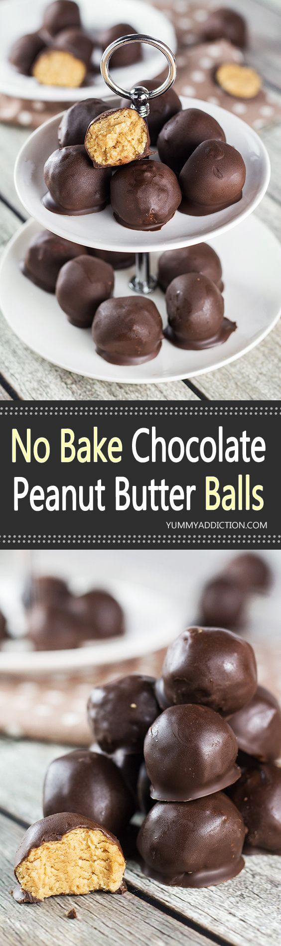 These No Bake Chocolate Peanut Butter Balls are everything you want them to be. Crazy delicious and really easy to make, they make a perfect dessert for any occasion!   yummyaddiction.com
