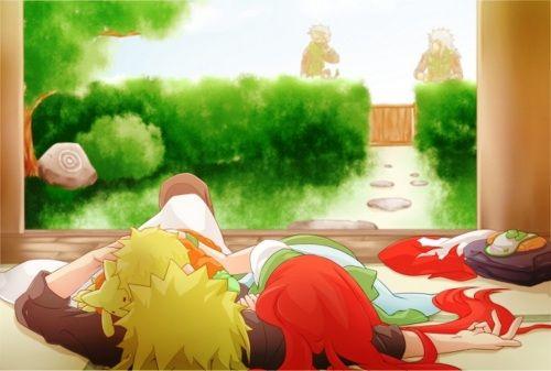 Minakushi and baby Naruto. *whispers* look in the background it's Kakashi and Jiraiya.