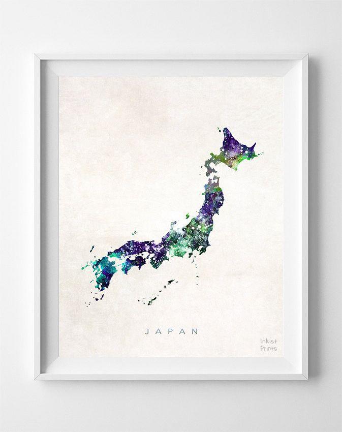 Japan Watercolor Map Print om op voordeur warung the hangen om land te verduidelijken