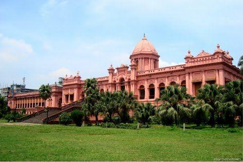 Front view of Ahsan manjil (Pink Palace) It's in MY country BANGLADESH.  GLAD to be banGLADeshi.