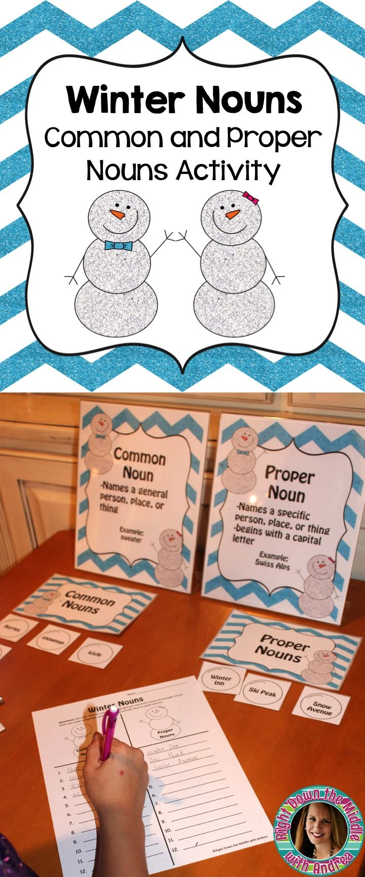 Winter Nouns...Students will practice sorting nouns into common nouns or proper nouns. There is a center activity complete with center cards, recording sheet, and answer key. -Right Down the Middle with Andrea