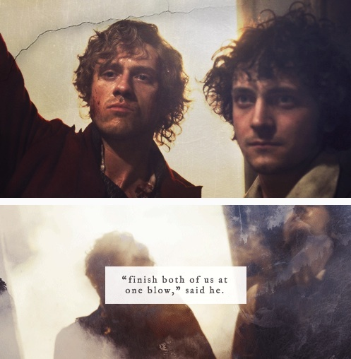 Les Mis - LOVE Enjolras' face here, so defiant and perfect. This scene makes me cry