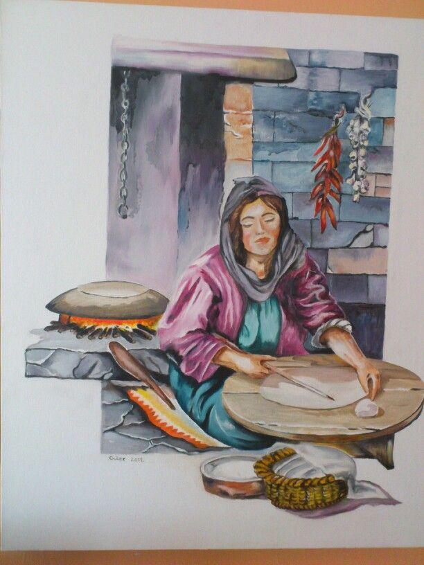 Ekmek yapan kadın