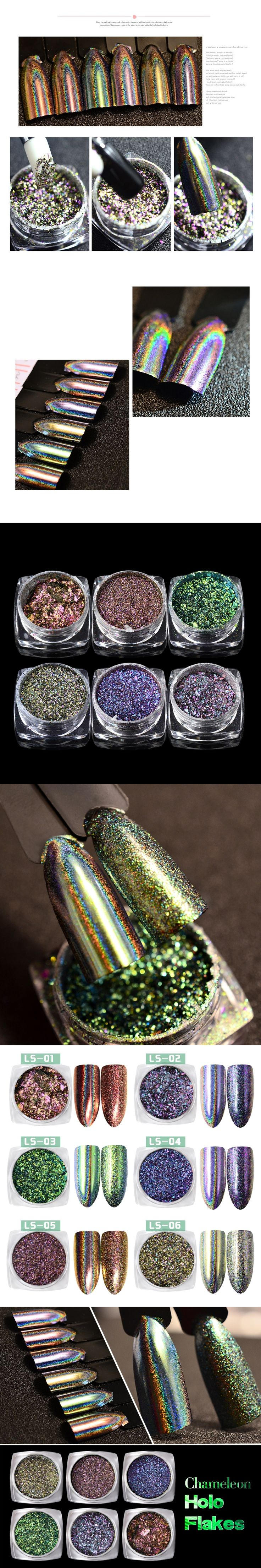 0.2g/box Laser Chameleon Holo Nail Art Flakes Powders Flakes Magic Mirror 2 Effects Holographic Nail Glitters Pigment