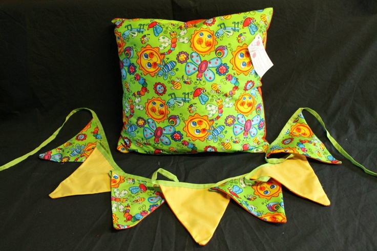 Sunshine & Dragonflies cushion cover and bunting  http://www.facebook.com/MadeBySarah