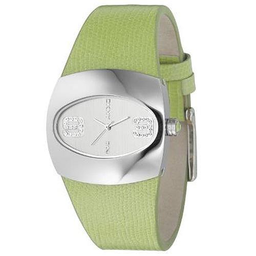 Ρολόι Dkny Crystal Lady Silver Dial Green Leather Strap