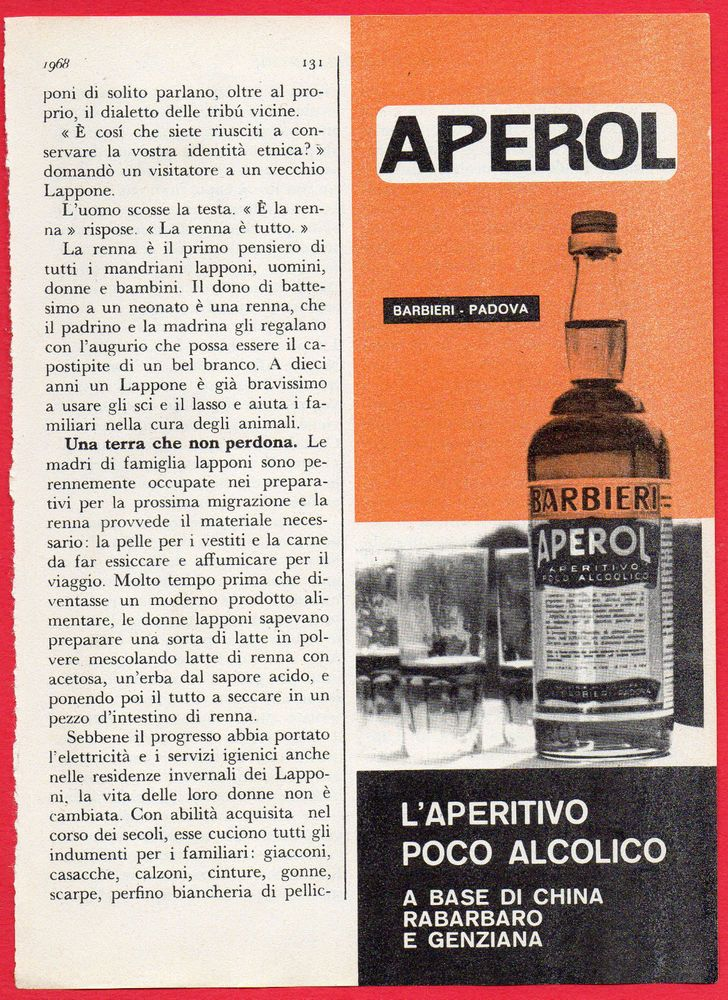 Pubblicità Advertising  APEROL Barbieri 1968