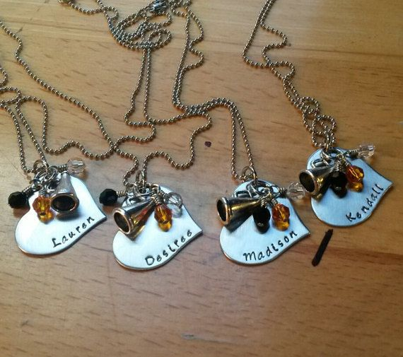 Hand Stamped Personalized Cheer Necklace - Cheerleading - choose Team Colors - Cheerleading Team Gift - Cheer Team