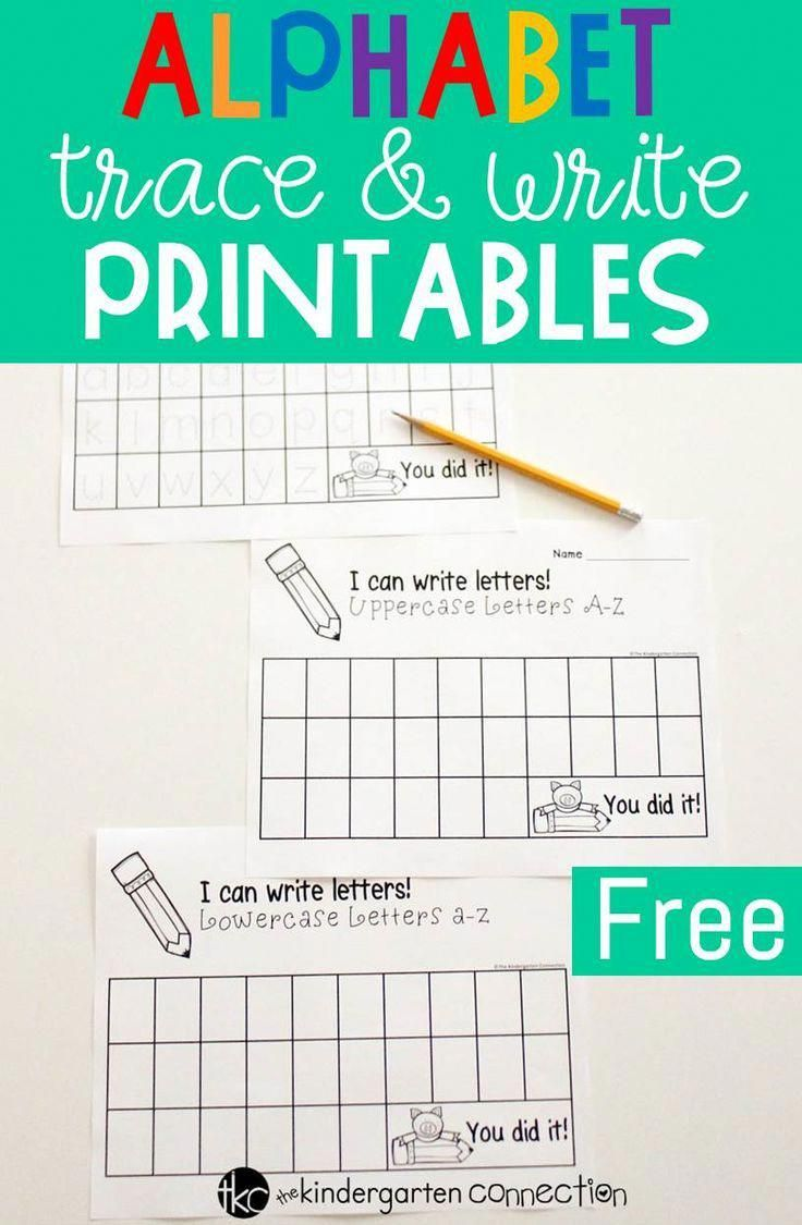These Free Alphabet Trace And Write Printables Are Perfect For Pre K And Kindergarten Students Working On Recognizing An Kinder Alphabet Kinder In Kindergarten [ 1125 x 736 Pixel ]