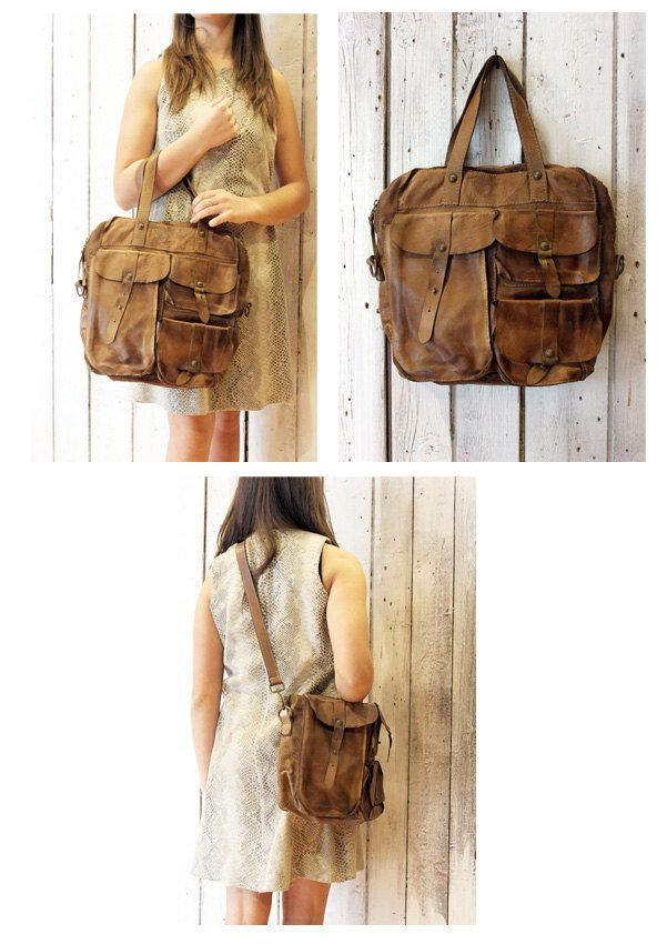 MULTI TASC 2 -Handmade Italian Brown Leather Messenger Bag di LaSellerieLimited su Etsy