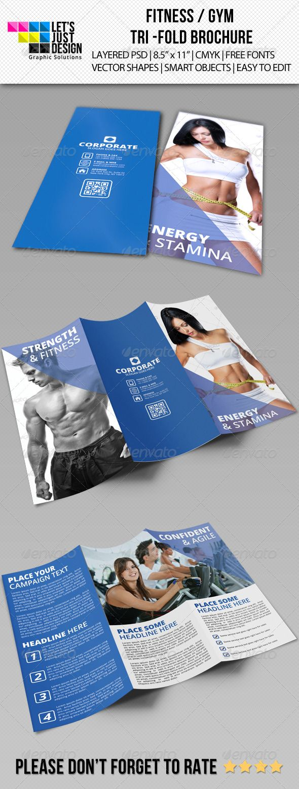 """Fitness and Gym Tri-Fold Brochure #GraphicRiver Fitness and Gym Tri-Fold Brochure Features: Layered PSD. Fully Editable Files 8.5"""" x 11"""" (8.75"""" x 11.25"""" with bleeds.) 300 DPI CMYK Colors. Print Ready Files. Free Fonts Used ( Fonts info available in Help file.) QR Code and Smart Objects Editing Instructions. Support Provided. Template color can easily be changed to any desired color. Fonts: uBuntu: font.ubuntu .fontsquirrel /fonts/open-sans Files Included: 2 PSD Files 1 TXT (HELP FILE) IMAGES…"""